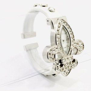 Sold- Geneva Platinum Fleur De Lis Watch